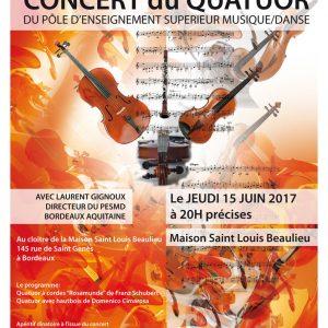 Concert du 15 juin du Quatuor du PESMD