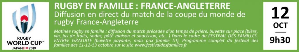 RUGBY EN FAMILLE : FRANCE-ANGLETERRE Diffusion en direct du match de la coupe du monde de rugby France-Angleterre