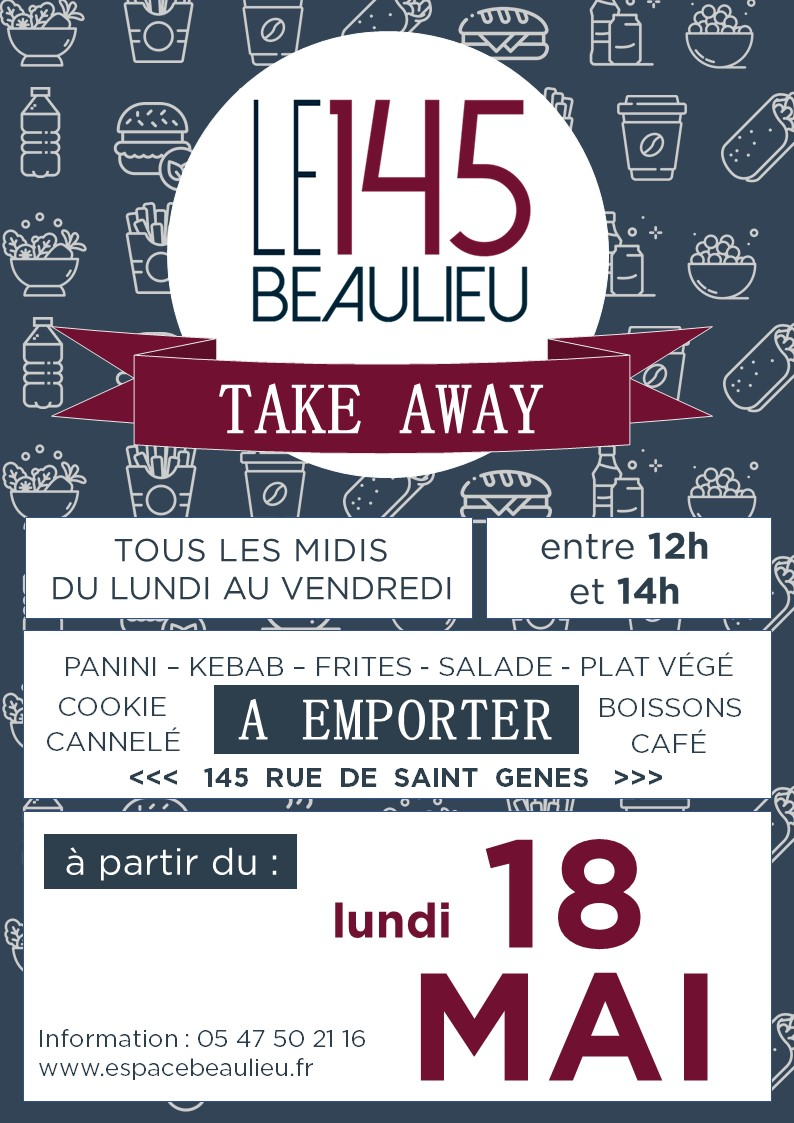 145 TAKE AWAY - LANCEMENT - BLEU & ROUGE