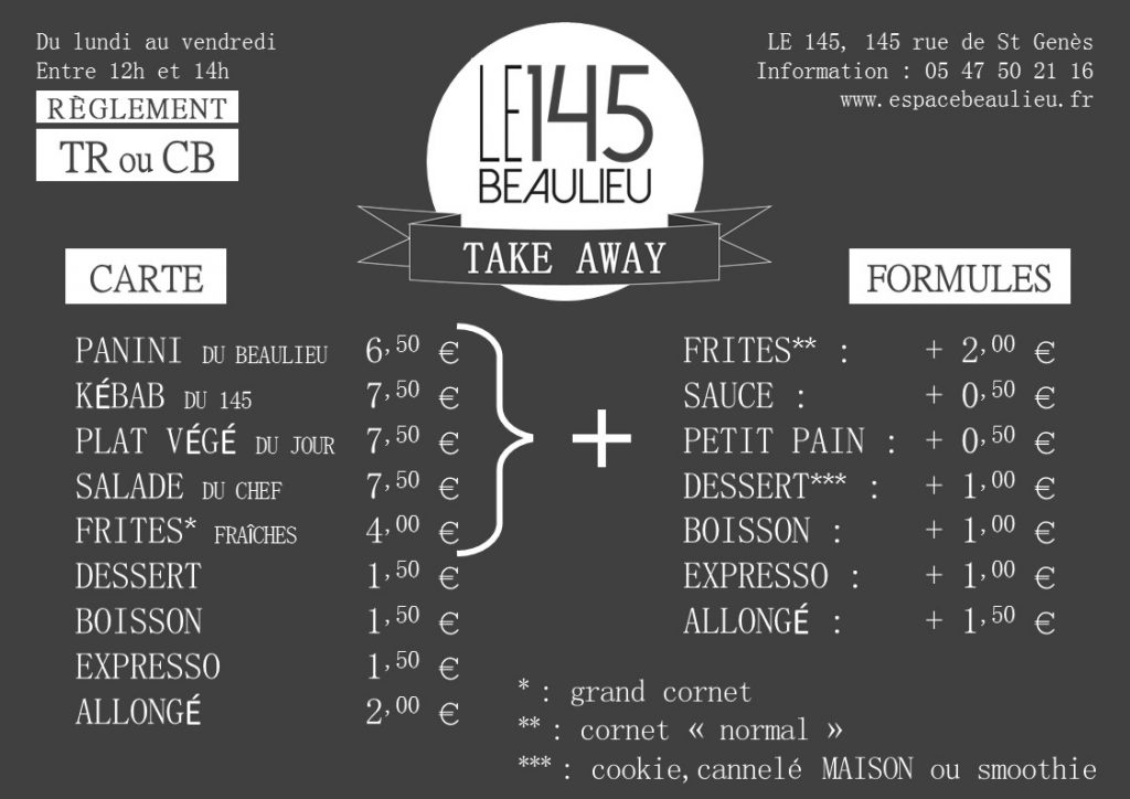 LA CARTE DU 145 TAKE AWAY